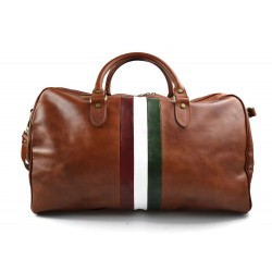 Duffle bag mens women leather green travel bag luggage leather bag carryon made in Italy airplane
