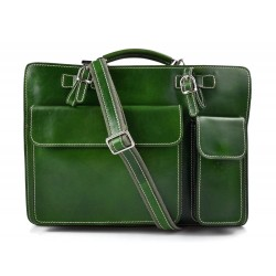 Leather shoulder bag briefcase carry on messenger bag leather ladies handbag men green