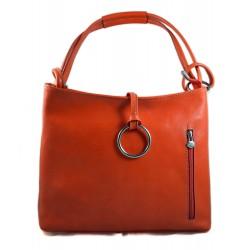 Borsa pelle borsello donna a spalla e a tracolla arancio made in Italy vera pelle