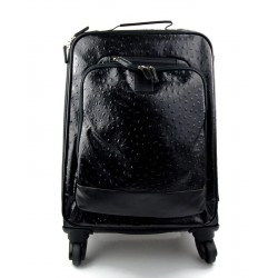 Leather trolley black travel bag weekender overnight leather bag with 4 wheels leather cabin luggage airplane bag
