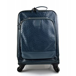 Leather trolley blue travel bag weekender overnight leather bag with 4 wheels leather cabin luggage airplane bag