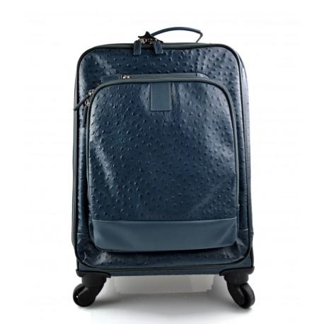diseño novedoso buena venta 100% de alta calidad Maleta de avion in piel azul trolley rígida maleta de cuero bolso de cuero  de viaje hombre mujer bolso con ruedas