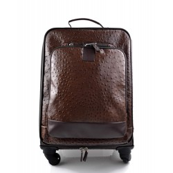 Leather trolley coffee travel bag weekender overnight leather bag with 4 wheels leather cabin luggage airplane bag