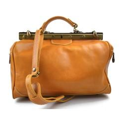 Ladies leather handbag doctor bag handheld shoulder bag yellow made in Italy genuine leather bag