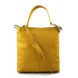 Leather ladies handbag shoulder bag luxury leather bag yellow