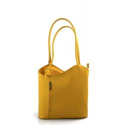 Borsa pelle donna zaino giallo con manici a spalla