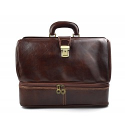 Doctor bag leather retro bag doctor bag men women medical bag brown