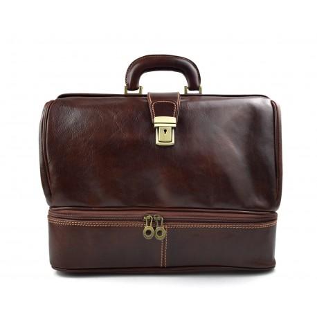 Doctor bag leather retro bag doctor bag men women medical bag brown