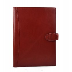 Leather folder A4 document file organiser office portofolio red