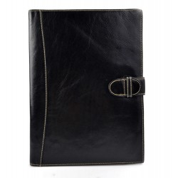 Maletin piel cartera bolso cartera cuero organizador archivos negro