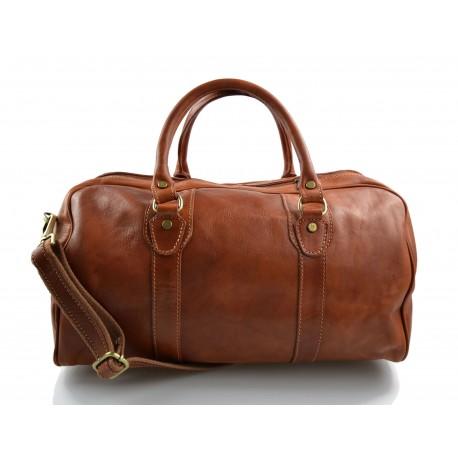 Leather duffle bag genuine leather travel bag overnight honey