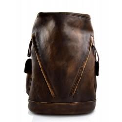 Mochila de piel vintage mochila piel lavada mochila marrón oscuro