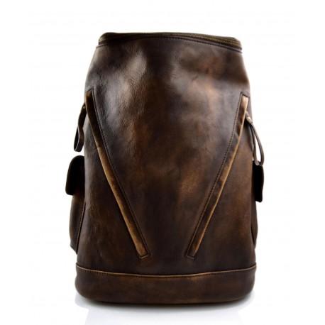Sac à dos brun foncè cuir italien lavé vintage sac à dos en cuir homme femme