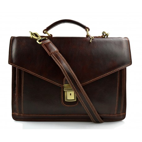 Leather briefcase mens ladies brown office shoulder bag