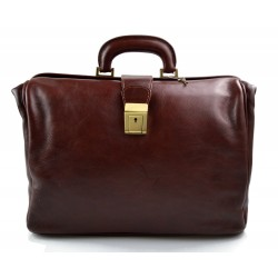 Doctor bag brown leather handbag men leather bag women briefcase