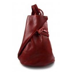 Zaino pelle uomo donna borsa palestra zaino scuola borsello lavoro rosso