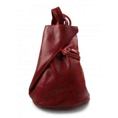 Sac à dos en cuir véritable de veau italien sac en cuir rouge