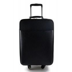 Trolley rigido bolsa de viaje trenzado cuero bolsa de cuero con ruedas negro
