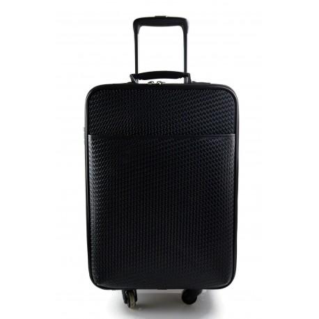Leather trolley travel bag 4 wheels weekender black