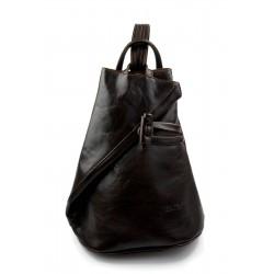 Bolso de viaje bolso de cuero mochila de cuero de hombre mochila marrón oscuro
