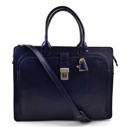 Leather briefcase mens women office shoulder bag document messenger bag business bag executive VIP briefcase blue
