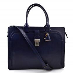 Sac cartable cuir serviette a main cuir bandoulière homme femme messenger sac de travail sac cartable bleu