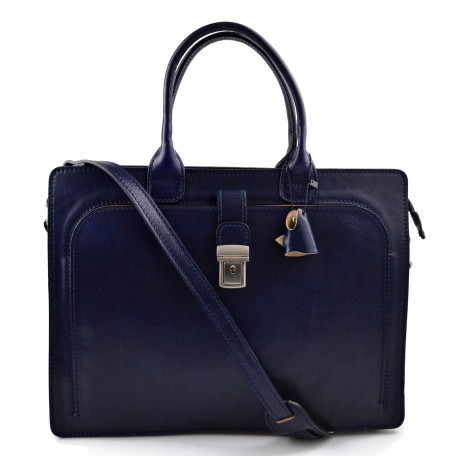 Leather briefcase mens women office shoulder bag document messenger bag business bag executive VIP briefcase blue