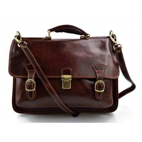 Briefcase leather office bag backpack shoulder bag conference bag mens business brown