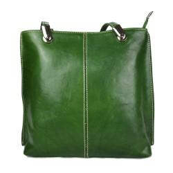 Borsa pelle donna verde zaino con manici a spalla