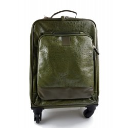Leather trolley green travel bag weekender overnight leather bag with 4 wheels leather cabin luggage airplane bag