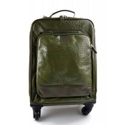 Valise trolley voyage en cuir vert sac voyage de bagages a main en cuir sac de cabine sac en cuir