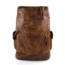 Sac à dos marron cuir italien lavé vintage sac à dos en cuir homme femme