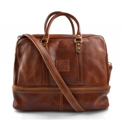 Leather duffle bag genuine leather shoulder bag honey mens ladies travel bag gym bag luggage