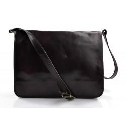 Bandoulière en cuir sac en cuir sac homme messenger sac d'épaule brun foncè