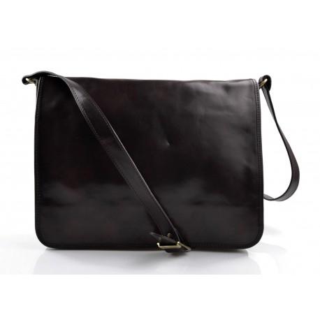 Leather messenger bag mens women leather bag leather shoulder bag dark brown