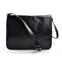 Bandoulière en cuir sac en cuir sac homme messenger sac d'épaule noir