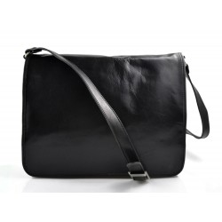 Leather messenger bag mens women leather bag leather shoulder bag black
