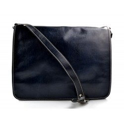 Leather messenger bag men women leather bag leather shoulder bag blue