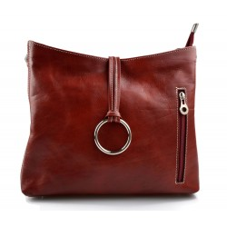 Leather ladies handbag shoulder bag luxury bag women handbag made in Italy women handbag red