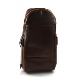 Mens waist leather women shoulder bag ladies hobo bag brown