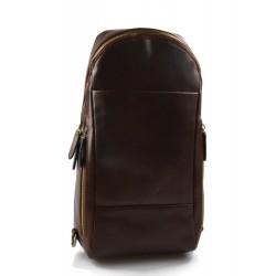 Sac à dos bandoulière en cuir sac homme sac à bandoulière brun