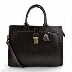 Leather briefcase office document bag business executive briefcase dark brown