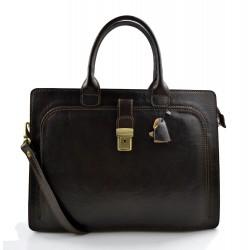 Leather briefcase mens women office shoulder bag document messenger bag business bag executive VIP briefcase dark brown
