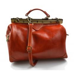 Ladies leather handbag doctor bag handheld shoulder bag orange made in Italy genuine leather bag