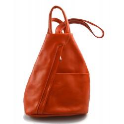 Sac à dos bandoulière en cuir sac homme femme orange