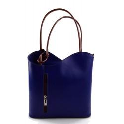 Sac à dos femme bleu marron sac d'èpaule sac à main en cuir