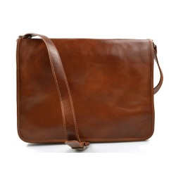 Borsa donna vera pelle borsa a spalla borsa tablet marrone