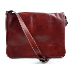 Leather messenger bag men women leather bag leather shoulder bag red