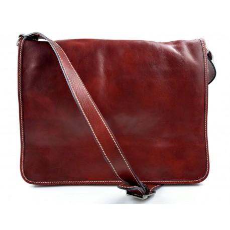 Bolso messenger de piel bolso de hombre piel bolso de mujer rojo