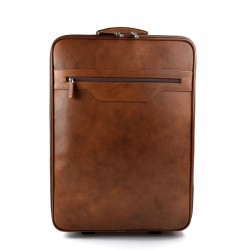 Leather trolley travel bag weekender overnight leather bag brown